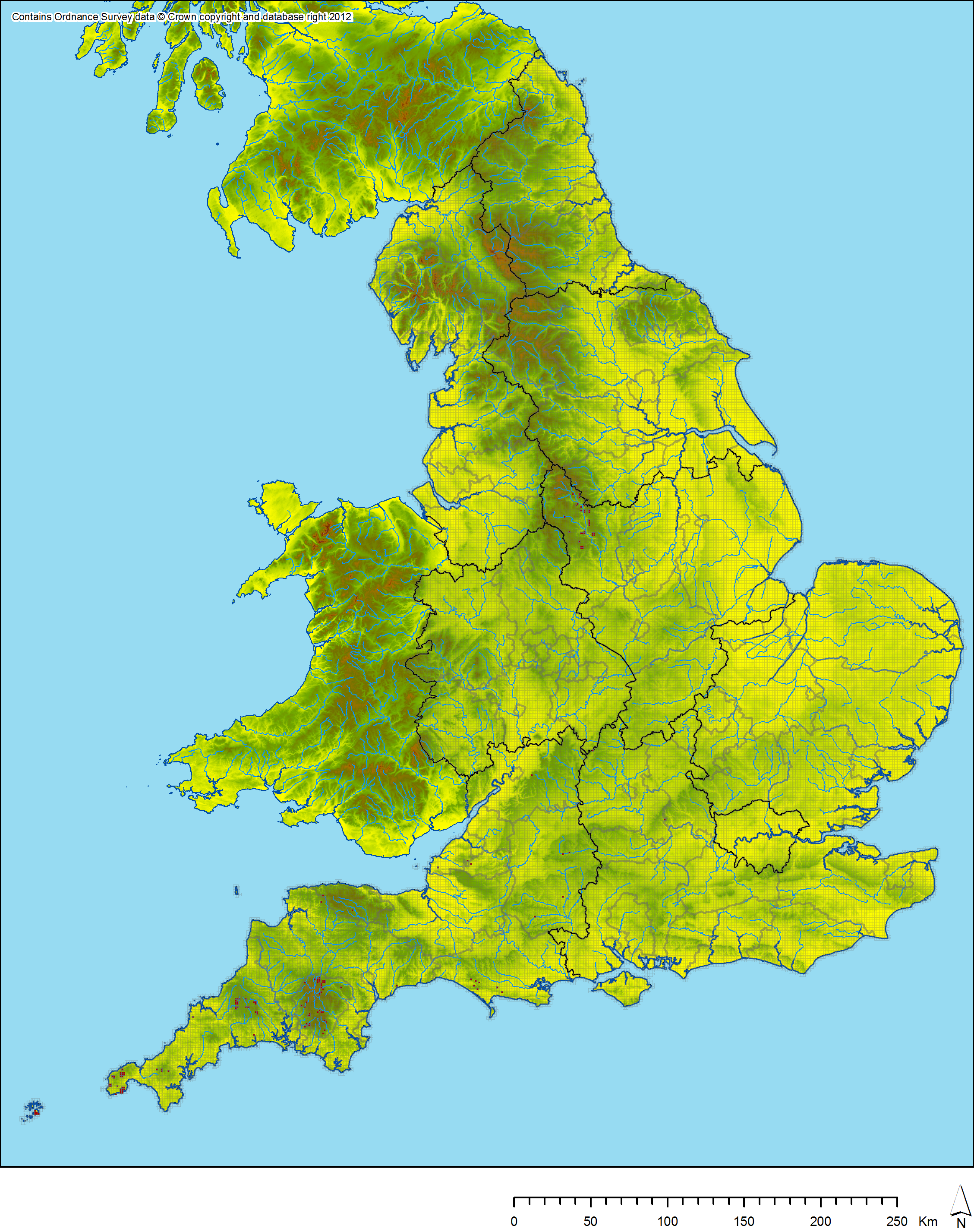 OS OpenData English Landscape And Identities - Terrain map uk