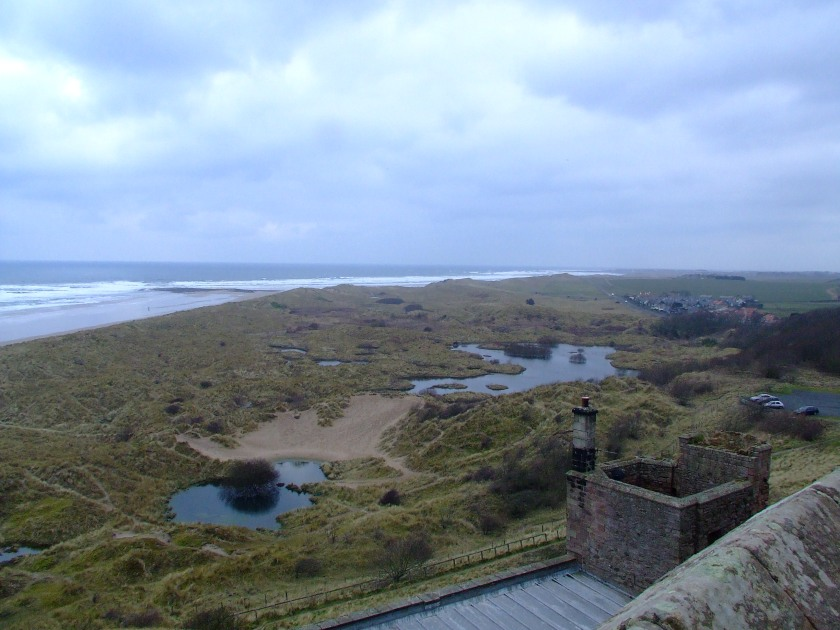 Site of an early medieval coastal cemetery, as seen from Bamburgh Castle