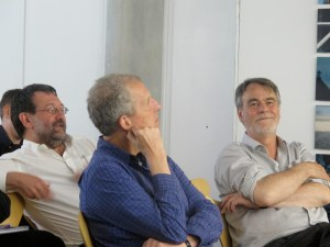 Roger Thomas, Richard Bradley and Chris Gosden deep in discussion.