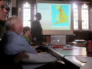 (l. to r.) Letty, Barry Cunliffe, Anwen and Chris Gr discussing hillforts.