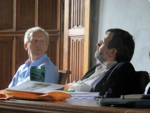 (l. to r.) Chris and Roger Thomas in discussion.
