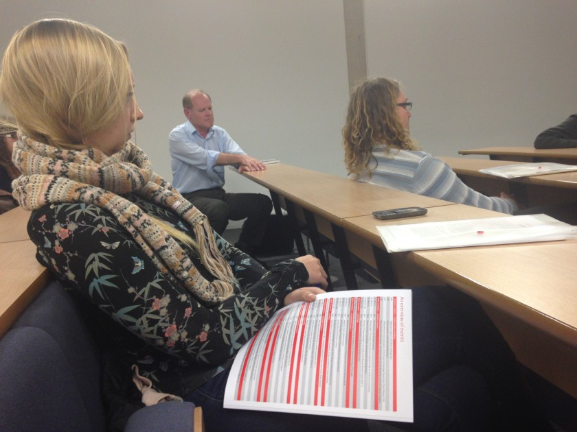 Nick Hodgson and Oxford DPhil student Abi Tompkins  listening to the discussion after the afternoon session
