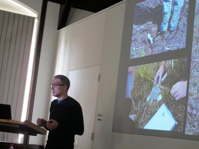 Mark Gillings describing the _very_ little standing stones on Exmoor