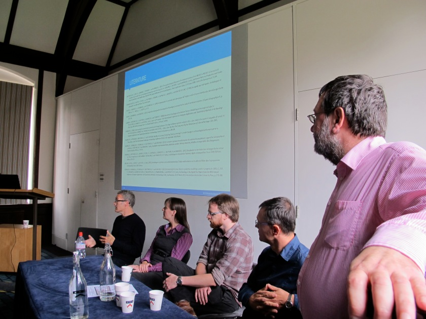 From left to right: Mark Gillings, Victoria Donnelly, Chris Green, Philip Verhagen and Roger Thomas. In the background: Philip's suggestions for further reading on the subject matter of his excellent talk.