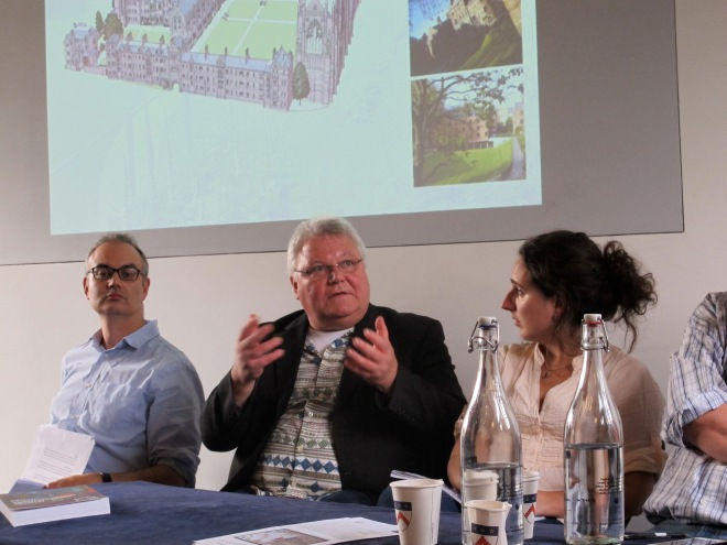 Dan Stansbie, Karl Peter Wendt and Sarah Mallet during the discussion